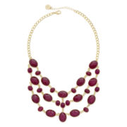 Liz Claiborne® Multicolor Stone Gold-Tone Multi-Strand Statement Necklace