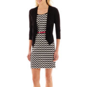 Studio 1® 3/4-Sleeve Belted Chevron Print Jacket Dress