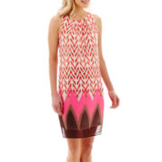 Robbie Bee® Sleeveless Aztec Geo Border Print Shift Dress