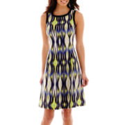 London Style Collection Sleeveless Geo Print Fit-and-Flare Dress