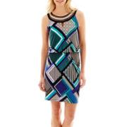 Studio 1® Sleeveless Embellished-Neck Blouson Dress