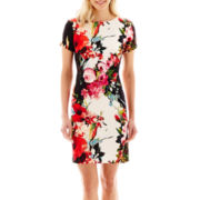 Studio 1® Cap-Sleeve Floral Print Scuba Knit Dress