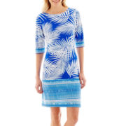 Studio 1® 3/4-Sleeve Border Print Knit Shift Dress