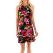 R&K Originals® Sleeveless Tropical Print Flounce Hem Shift Dress