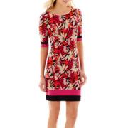 R&K Originals® Elbow-Sleeve Tropical Print Knit Shift Dress