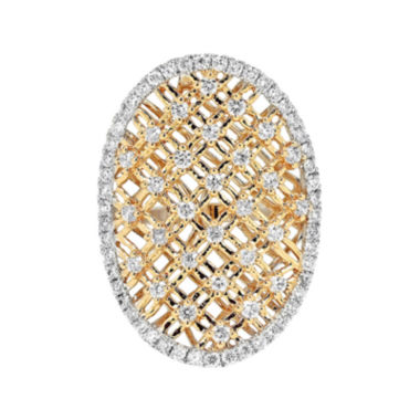 jcpenney.com | LIMITED QUANTITIES 1-1/10 CT. T.W. Diamond 14K Two-Tone Gold Shield Ring