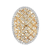 CLOSEOUT! 1-1/10 CT. T.W. Diamond 14K Two-Tone Gold Shield Ring