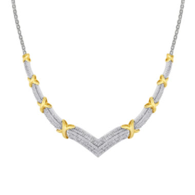 jcpenney.com | 1/2 CT. T.W. Diamond Two-Tone X Necklace