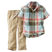 Carter's® Plaid Shirt and Khaki Pants Set - Baby Boys newborn-24m