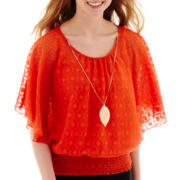 by&by Flutter-Sleeve Necklace Top