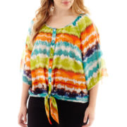 by&by 3/4-Sleeve Tie-Dye Print Cold-Shoulder Top - Plus