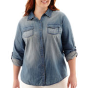 Arizona Long-Sleeve Denim Shirt - Juniors Plus