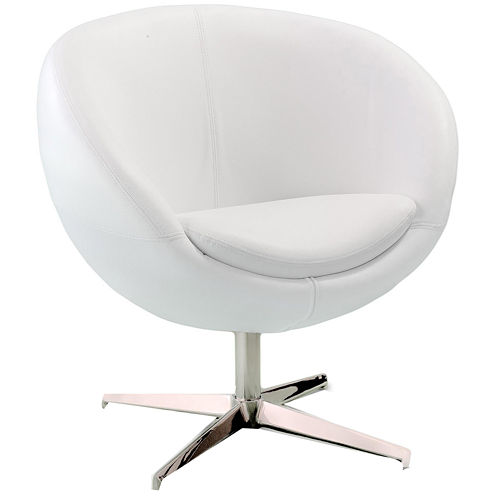 Jackie White Bonded Leather Round-Back Chair