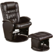 Petersonville Faux-Leather Glider with Ottoman