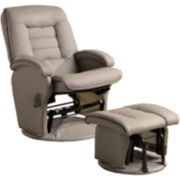 Banks Faux-Leather Glider with Ottoman