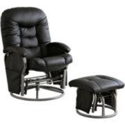 Boarder Faux-Leather Glider with Ottoman