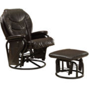 Stephenville Faux-Leather Glider with Ottoman