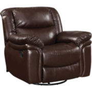 Tamara Swivel Faux-Leather Glider Recliner