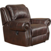Graceland Swivel Faux-Leather Rocker Recliner