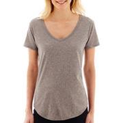 Stylus™ Short-Sleeve Metallic Dot Slub T-Shirt - Tall