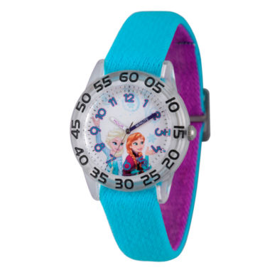 jcpenney.com | Disney Girls Frozen Elsa And Anna Blue And Silver Tone Time Teacher Strap Watches