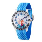 Disney Girls Frozen Elsa And Anna Blue Nylon Time Teacher Strap Watches