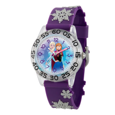 jcpenney.com | Disney Girls Frozen Elsa And Anna Purple And Silver Tone Snowflake Time Teacher Strap Watches