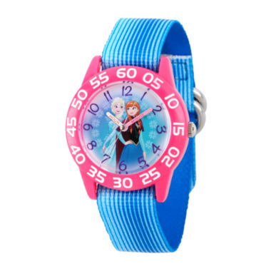 jcpenney.com | Disney Girls Frozen Elsa And Anna Blue And Pink Time Teacher Strap Watches