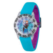 Disney Girls Frozen Elsa And Anna Blue And Silver Tone Time Teacher Strap Watches