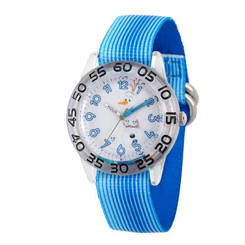 Disney Boys Frozen Olaf Blue And Silvertone Time Teacher Strap Watches