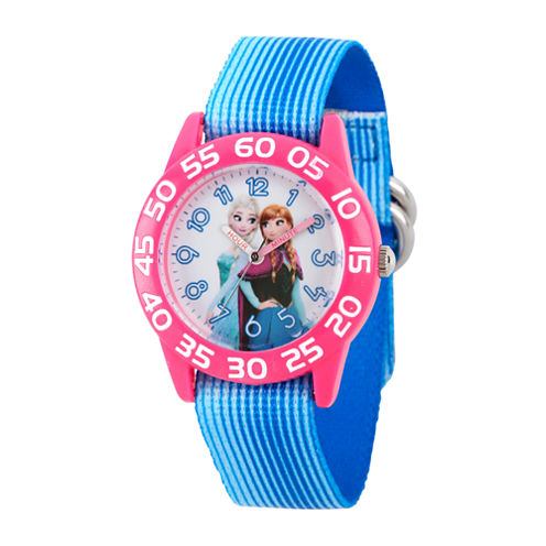 Disney Girls Frozen Elsa And Anna Blue And Pink Nylon Time Teacher Watch