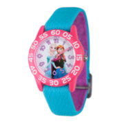 Disney Girls Frozen Elsa And Anna Sisters Blue And Pink Nylon Time Teacher Strap Watch