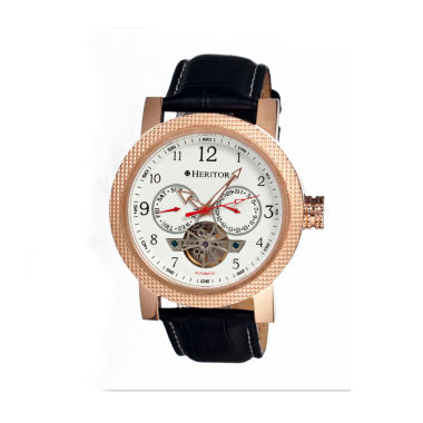 jcpenney.com | Heritor Automatic Millennial Mens Semi-Skeleton Leather-Band Rose Gold Tone/White Watch