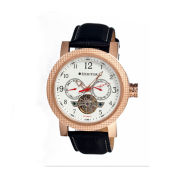 Heritor Automatic Millennial Mens Semi-Skeleton Leather-Band Rose Gold Tone/White Watch
