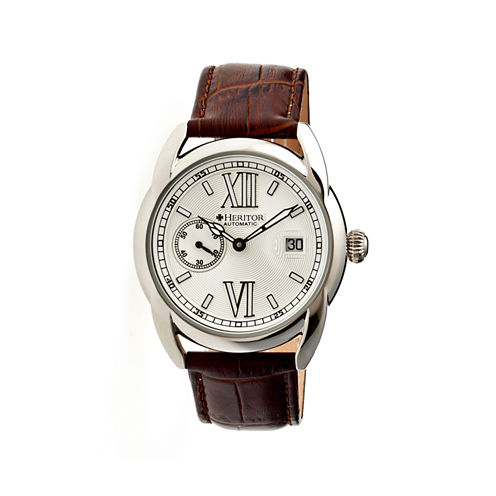 Heritor Automatic Burnell Mens Leather Date-Silver Tone/Brown Watch