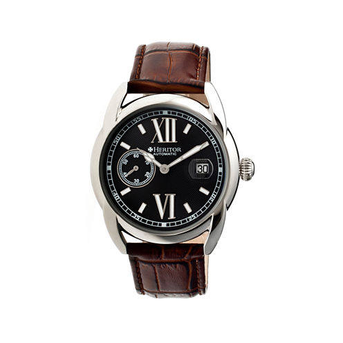 Heritor Automatic Burnell Mens Leather Date-Silver Tone/Black/Brown Watch