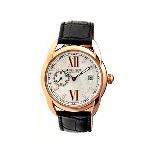 Heritor Automatic Burnell Mens Leather Date-Rose Gold Tone/Silver Tone/Black Watch