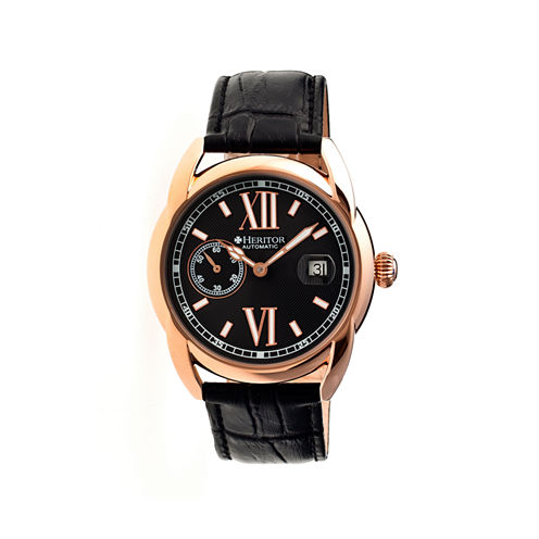 Heritor Automatic Burnell Mens Leather Date-Rose Gold Tone/Black/Black Watch