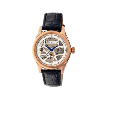 jcpenney.com | Heritor Automatic Nicollier Mens Skeleton Dial Leather-Rose Gold/Black Watches