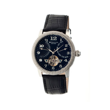 jcpenney.com | Heritor Automatic Piccard Mens Semi-Skeleton Leather Date-Silver/Black Watches