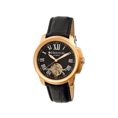 jcpenney.com | Heritor Automatic Franklin Mens Semi-Skeleton Leather-Rose Gold/Black Watches