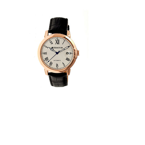 Heritor Automatic Laudrup Mens Leather Magnified Date-Rose Gold/Silver Watches