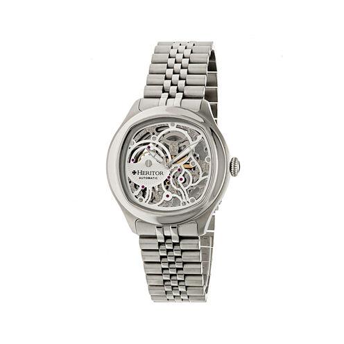 Heritor Automatic Odysseus Mens Skeleton Dial Bracelet Silver Watches