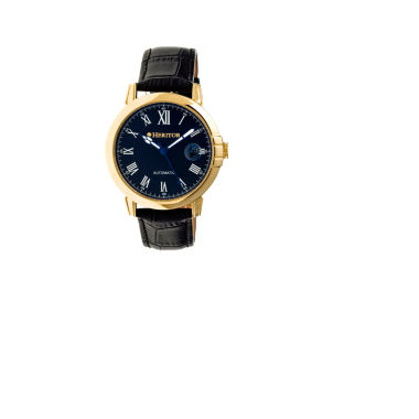 jcpenney.com | Heritor Automatic Laudrup Mens Leather Magnified Date-Gold Tone/Black Watch