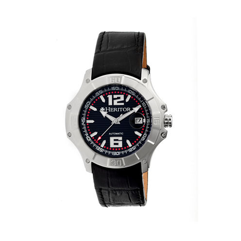 Heritor Automatic Norton Mens Leather Magnified Date-Silver/Black Watches