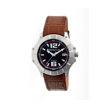 jcpenney.com | Heritor Automatic Norton Mens Leather Magnified Date-Silver/Brown Watches