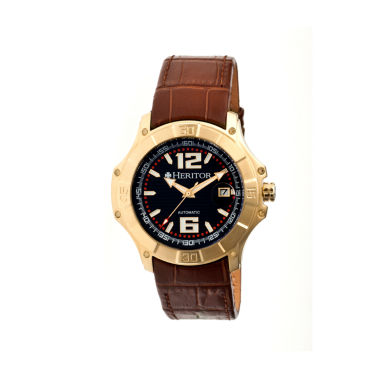 jcpenney.com | Heritor Automatic Norton Mens Leather Magnified Date-Gold/Brown Watches