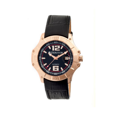 jcpenney.com | Heritor Automatic Norton Mens Leather Magnified Date-Rose Gold/Black Watches