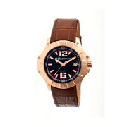 Heritor Automatic Norton Mens Leather Magnified Date-Rose Gold/Brown Watches