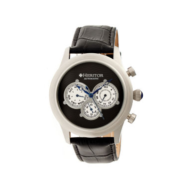 jcpenney.com | Heritor Automatic Earnhardt Mens Leather Day&Date-Silver/Black Watches